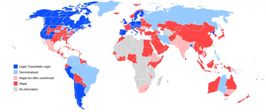 Mapa de países en los que es legal la Marihuana (2018)